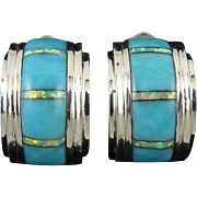 Opal and Turquoise Inlay Half Hoop Sterling Silver Earrings