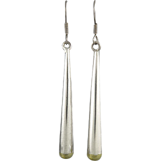 Long Silver with Gold Tips Pendant Drop Dangle Earrings