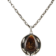 Rare Fire Agate Large Pendant with Chunky Sterling Chain 30""