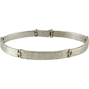 Thick Sterling Panel Style Bracelet with Hammered Finish