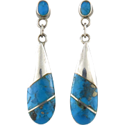 Sterling Turquoise Inlay Dangle Earrings