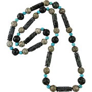"""Carved Dragon Column Bead and Turquoise Bead Necklace 32"""""""