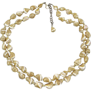 2 Strand Carved Mother of Pearl Bead Necklace 21""