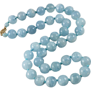 290tcw Fine Aquamarine Large Bead and 14K Necklace 19""