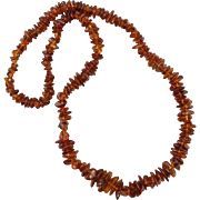 "Polished Cognac Amber Nugget Necklace 27"" 39 grams"