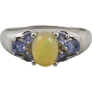 Welo Opal and Tanzanite Sterling Silver Ring