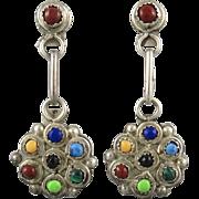 Multi Gem Southwestern Sterling Silver Dangle Earrings