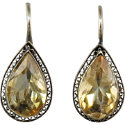 9ctw Pear Cut Citrine Gilded Silver Lever Back Earrings