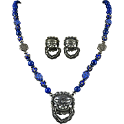 """Chinese Silver Foo Dog Necklace with Lapis and Matching Earrings 31"""""""