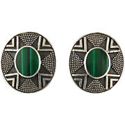 Malachite and Sterling Silver Pattern Earrings