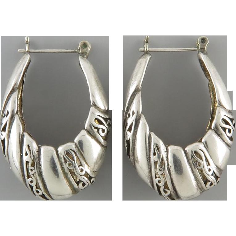 Sterling Openwork Hoop Earrings