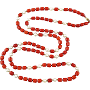 14K Coral and Freshwater Cultured Pearl Long Necklace 50""