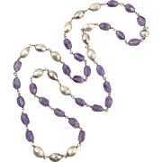 Italian Silver and Amethyst Chain Link Style Necklace 36""