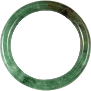 Vintage Mottled Green and Black Jade Bangle Bracelet