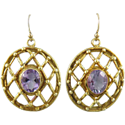 Large Amethyst Basket Weave 14K Vermeil Dangle Earrings