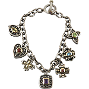 14K Gemstone and Sterling Silver Charm Bracelet