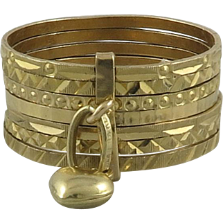 14K Gold 7 Stacking Ring Set with Heart Charm