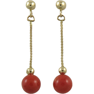 14K Sardinian Red Coral Dangle Earrings