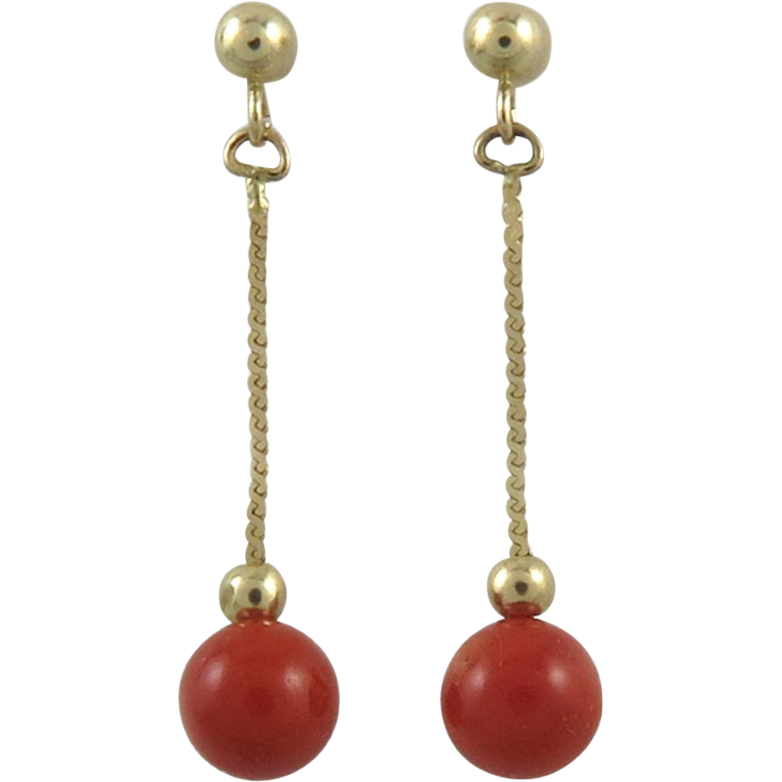14K Sardinian Red Coral Dangle Earrings