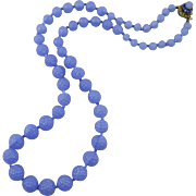 Miriam Haskell Periwinkle Blue Glass Berry Bead Necklace 29.5""