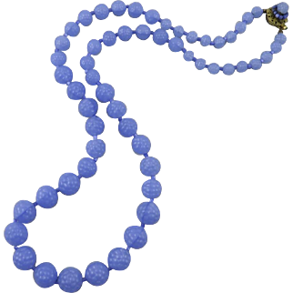 """Miriam Haskell Periwinkle Blue Glass Berry Bead Necklace 29.5"""""""