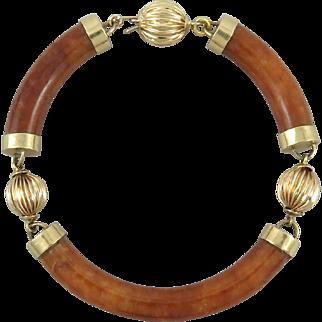 14K Natural Red Jade Link Style Bracelet