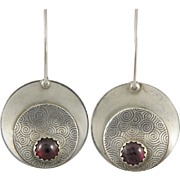 Garnet and Sterling Disk Earrings Signed