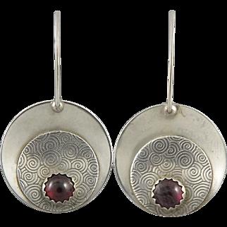 Garnet and Sterling Disk Earrings Signed