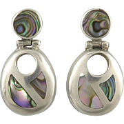 Exceptional Abalone and Sterling Silver Door Knocker Earrings
