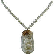 "Chinese Carved Hetian Nephrite Jade Necklace 25"" Certified"