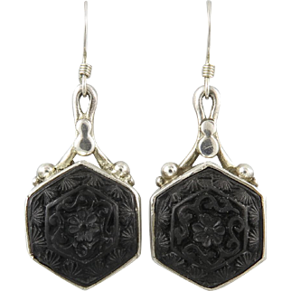 Chinese Carved Black Cinnabar and Sterling Earrings