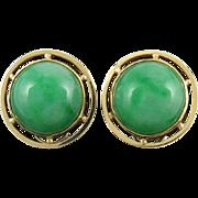14K Green Jade Earrings Omega Clips