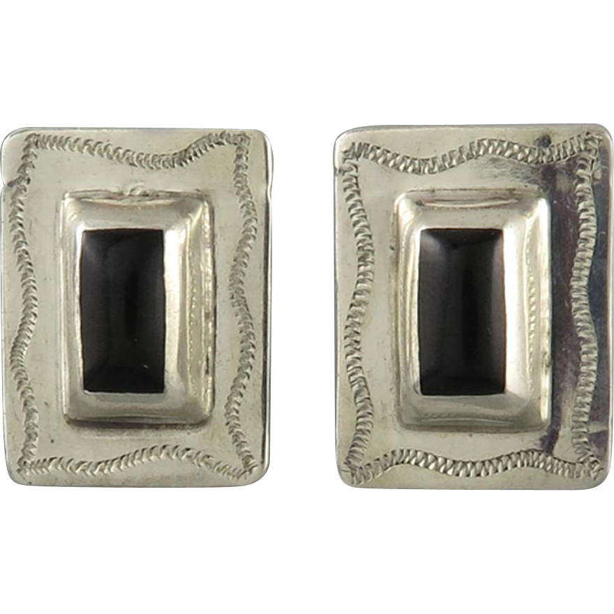 Sterling and Black Onyx Chased Earrings