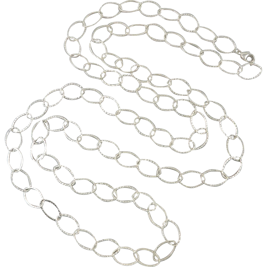 Long and Large Sterling Chain Link Necklace 60""