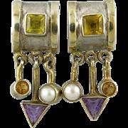 Dangling Gemstone Fringe Sterling and 14K Gold Wash Earrings