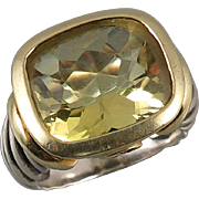 David Yurman 14K Sterling and Lemon Citrine Ring