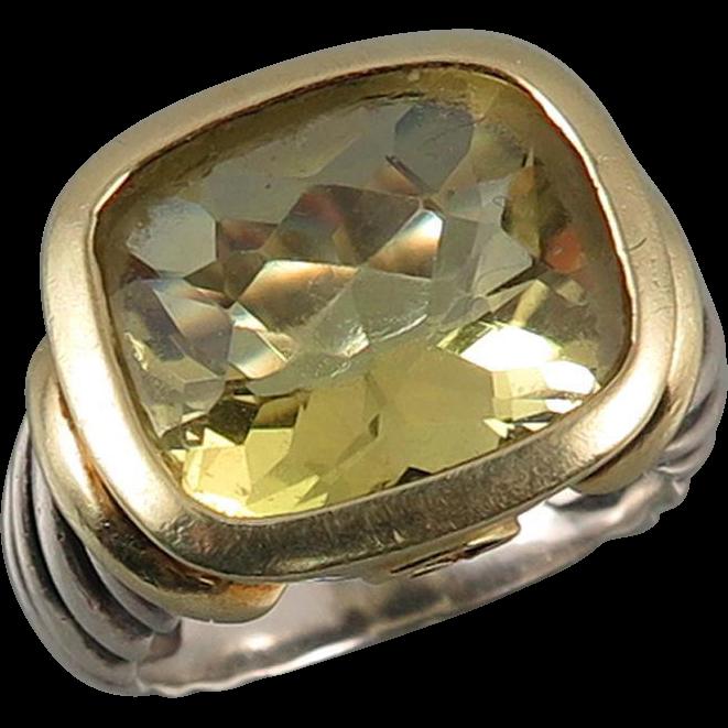 David Yurman 14K Sterling and Lemon Citrine Ring