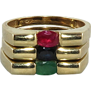 Emerald Ruby Sapphire Stacking 10K Ring Set