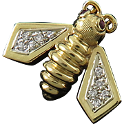 14K Diamond and Ruby Bee Pin/Brooch