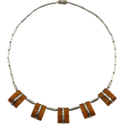 Art Deco Jakob Bengel Chrome and Bakelite Necklace 17""