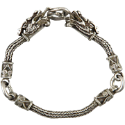 Double Dragon Head Chain Link Style Sterling Silver Bracelet