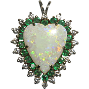 Large 4.6ctw Opal Diamond and Emerald 14K Heart Pendant