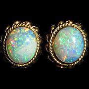 3.25ctw Australian Crystal Opal and 14K Button Style Earrings