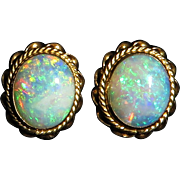3.25ctw Australian Crystal Opal and 14K Button Style Earrings