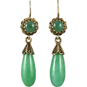 Victorian 14K Jade Teardrop Dangle Style Earrings