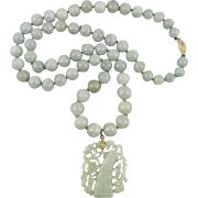 Chinese Jadeite Jade Carved Bamboo Pendant Necklace 29""