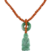 Chinese Carved Jade Buddha and Salmon Coral Necklace 19""