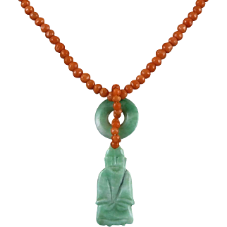 """Chinese Carved Jade Buddha and Salmon Coral Necklace 19"""""""