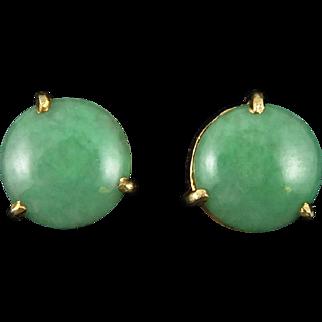 14K Green Jadeite Jade Button Earrings