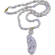 Carved Lavender Jade Dragon Necklace Certified Grade A 24""